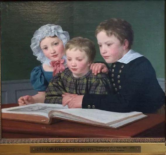 Denmark-children-learning.Eckersberg-AD1832-painting